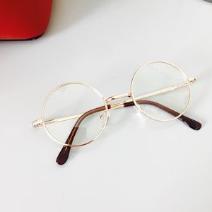 ROUND RETRO CLEAR LENS GOLD GLASSES